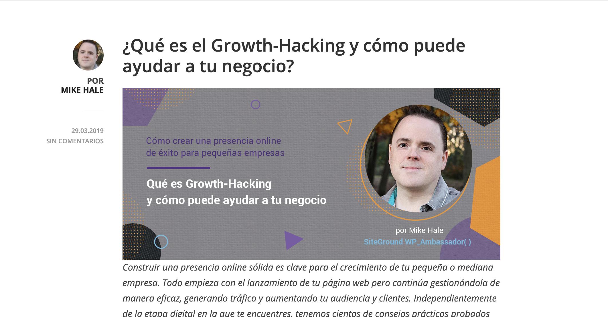 Ejemplo de contenido de valor - Via SiteGround en Espanñol